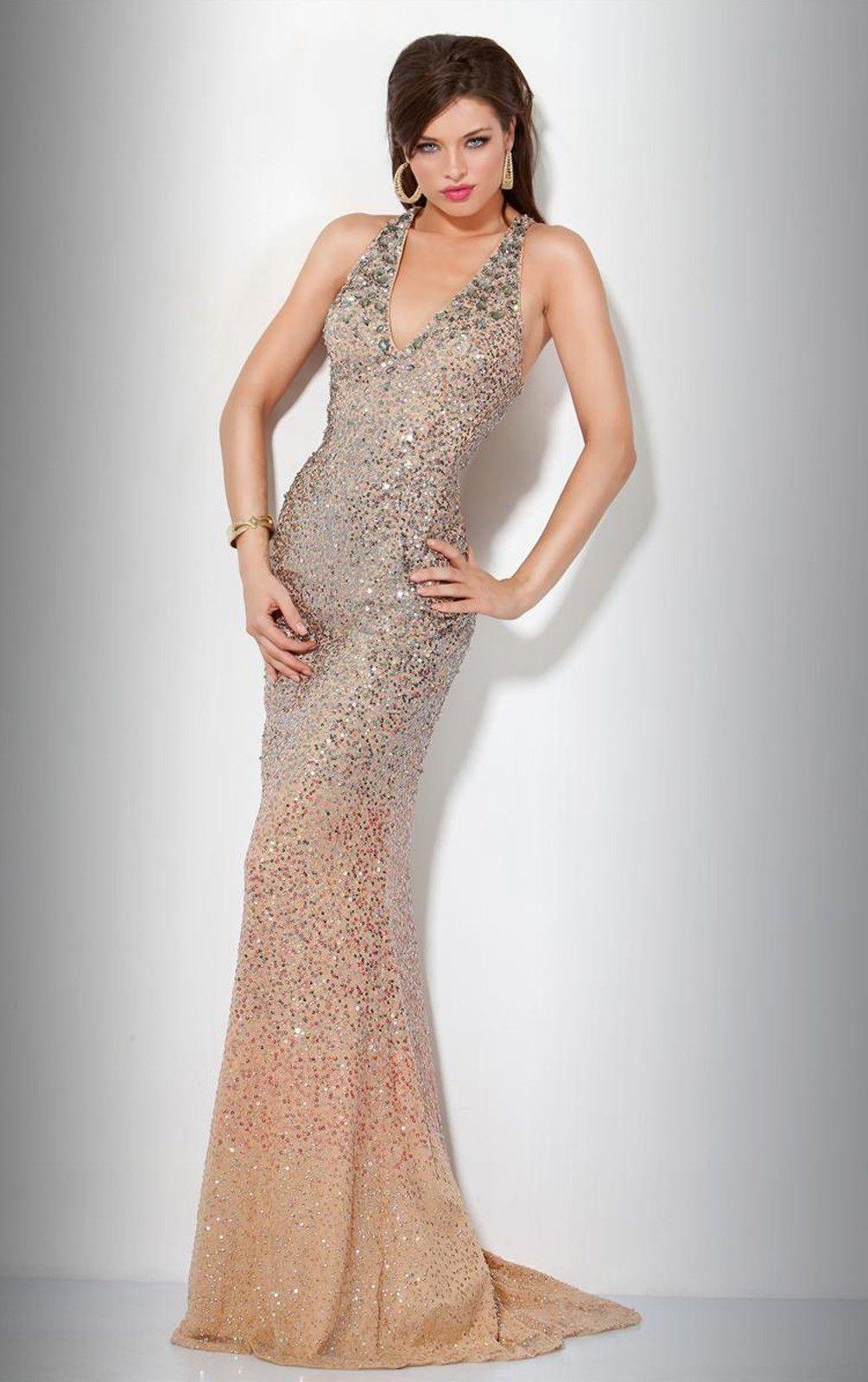 Sequined wedding dress  Symphony Vneck Trumpet Sleeveless Sequined Brush Train Prom Dresses