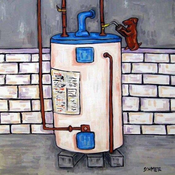 Dachshund art - TILE, coaster, gift, modern, folk art, pop art, plumbing, dog, dog art, dog tile