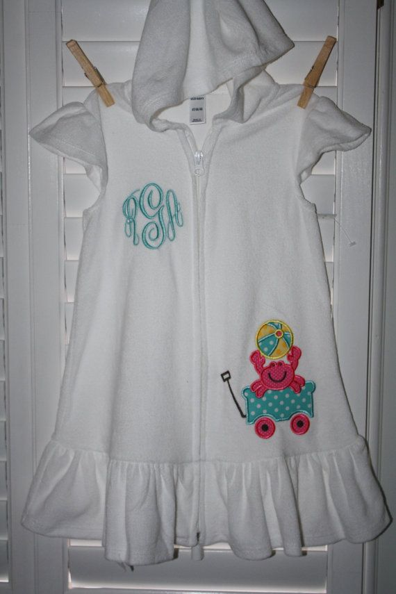 5ccc9b911bed0 Girls Hooded Terry Swim Cover-up with Applique   Monogram.  30.00 ...