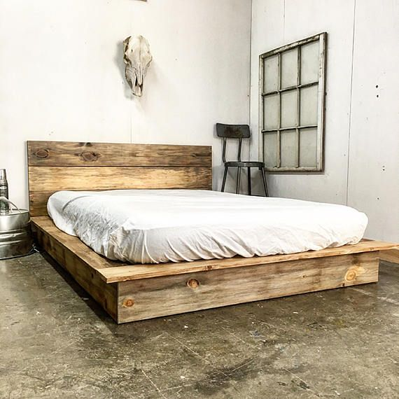 Best Ol Weathered Plank Low Pro Rustic Modern Platform Bed 400 x 300