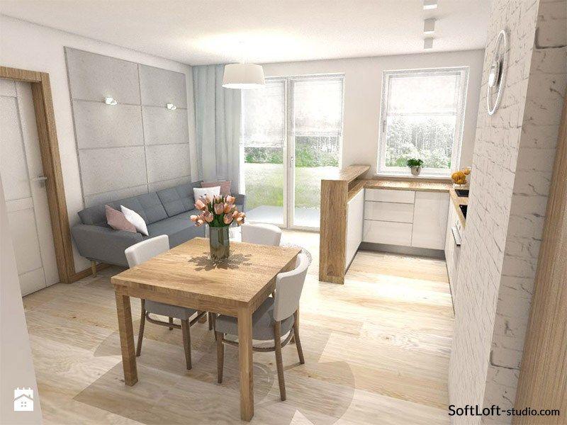 Mały Salon Z Aneksem Kuchennym I ścianką Tv Zdjęcie Od Soft Loft