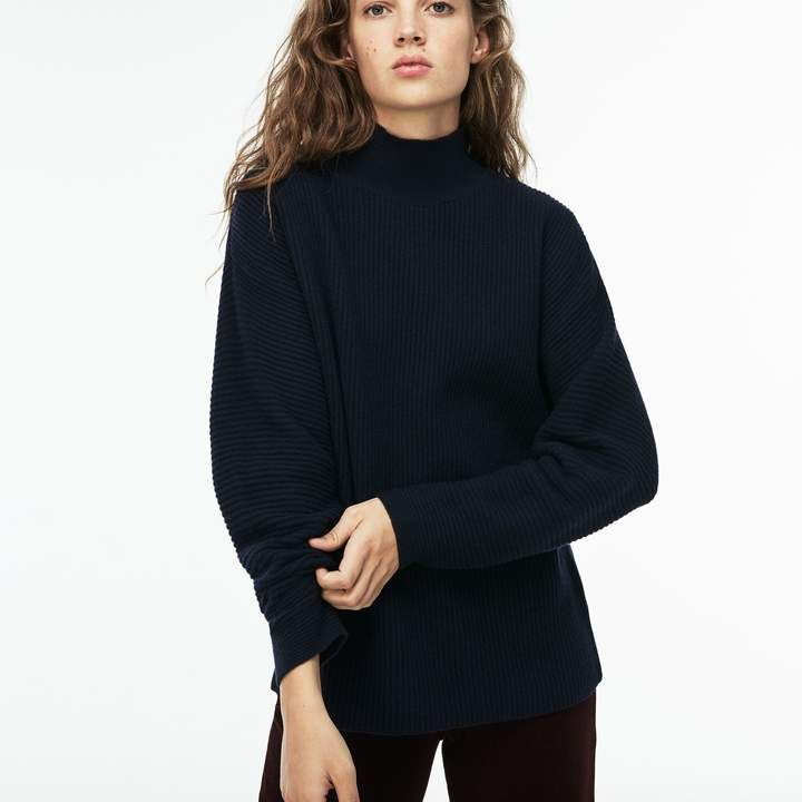 c26b38e0ce Lacoste Women's Stand-Up Collar Ribbed Wool And Cashmere Sweater ...