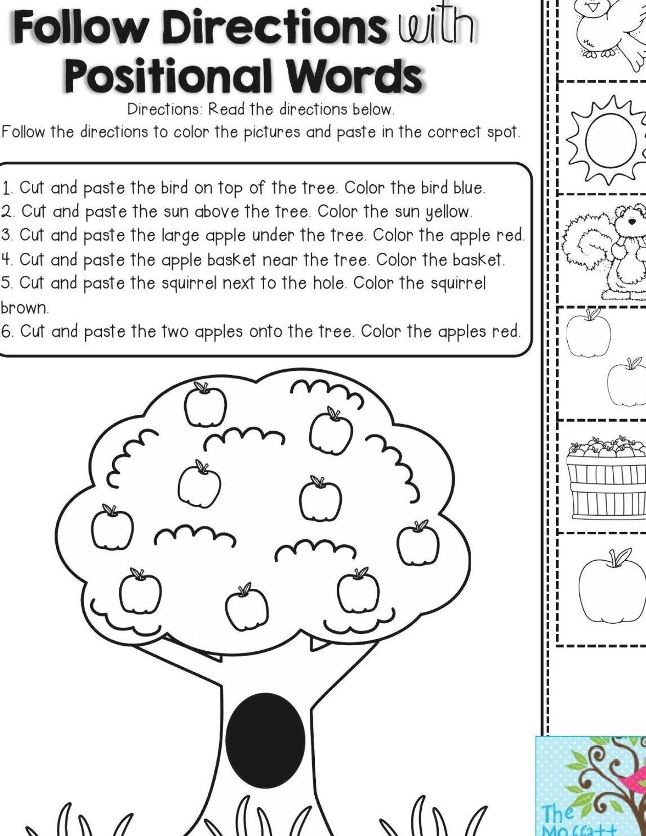 Follow Directions with Positional Words- fun activity for First Grade to  help stu…   Listening activities for kids [ 1634 x 1262 Pixel ]