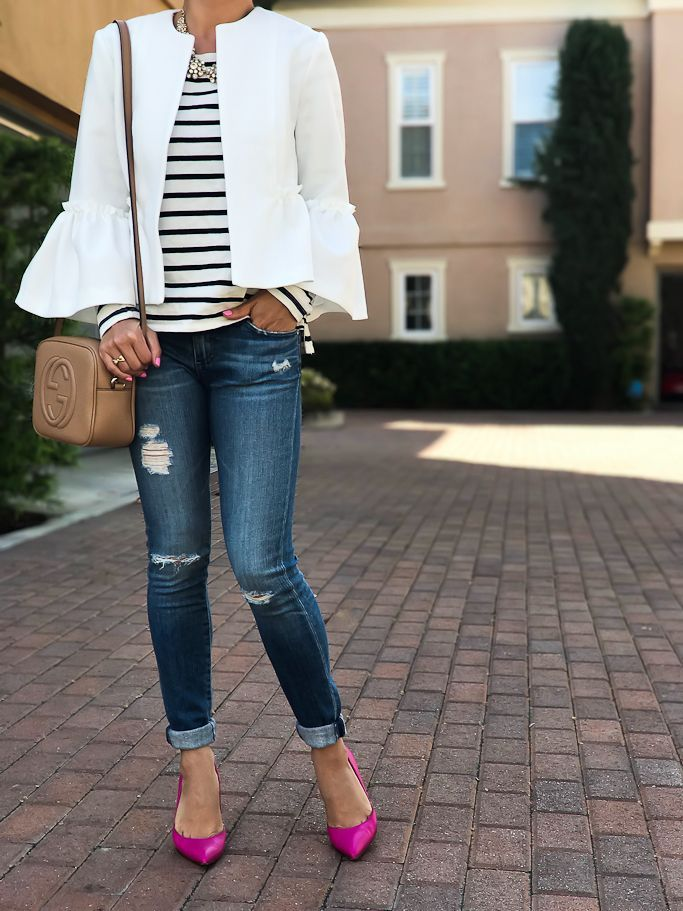 Petite distressed super skinny jeans, Gucci soho disco leather bag, lottie pink pumps, striped shirt,  ruffle crop jacket, spring outfit, bell sleeve jacket, pink pumps, petite fashion blog, petite outfit ideas - click the photo for outfit details!
