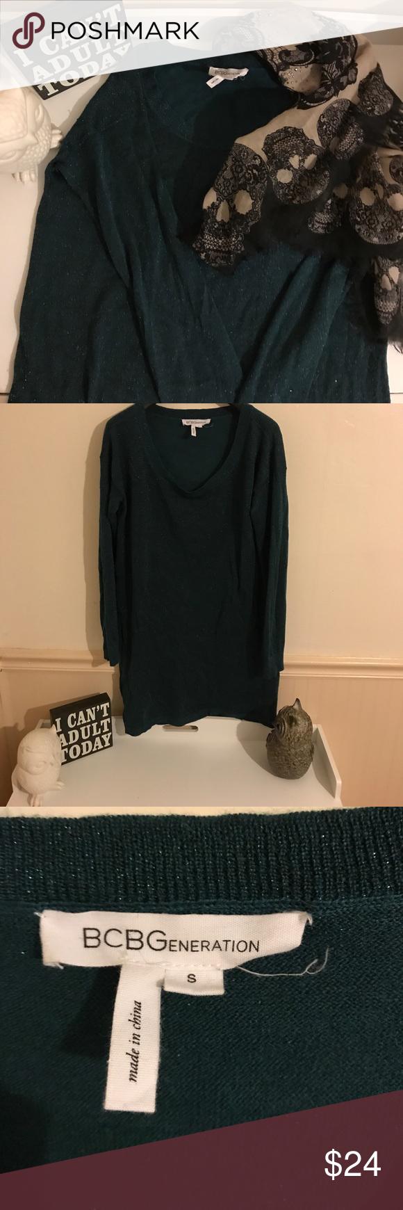 BCBG sparkle sweater Dark green sweater with sparkly thread. Tunic ...