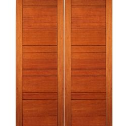 RB-01-2 Rubi Collection Double Door, Mahogany, Contemporary with a Flush Design