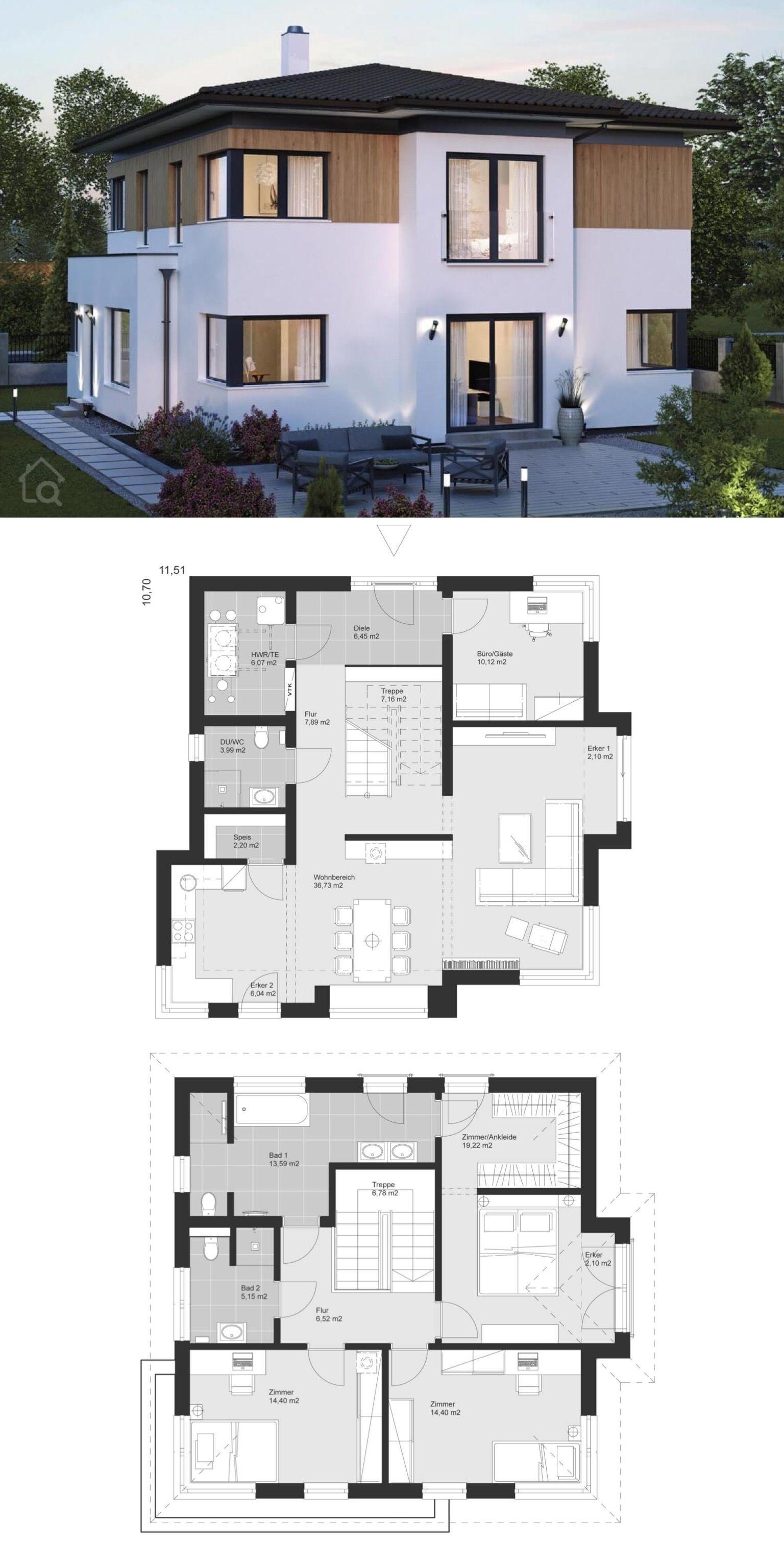 Neubau Stadtvilla Grundriss modern mit Walmdach & Holz Putz Fassade Haus Ideen