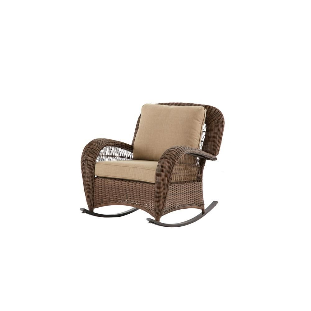 Hampton Bay Beacon Park Brown Wicker Outdoor Patio Rocking Chair With Stand Outdoor Wicker Rocking Chairs Outdoor Rocking Chair Cushions Outdoor Rocking Chairs