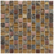 "Abbey 0.875"" x 0.875"" Glass, Stone and Metal Mosaic Tile in Alloy Copper  WF"