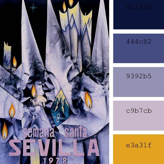 Color Palettes Inspired In Vintage Travel Posters Semana Santa En Sevilla Carteles De Fiesta Semana Santa Sevilla Semana Santa