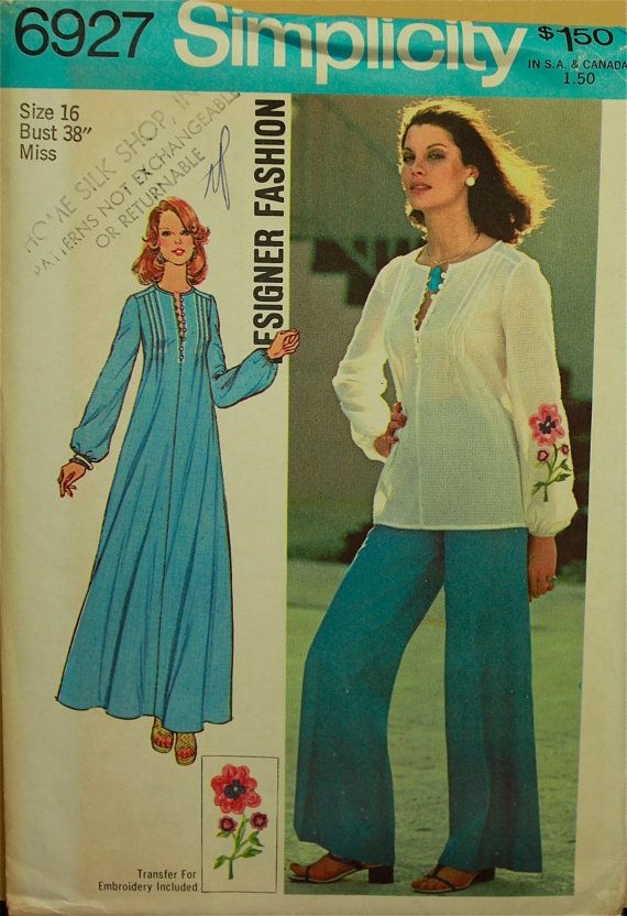 1970s Caftan Top and WideLeg Pants Designer by patterntreasury, $15.95  I still have this pattern!