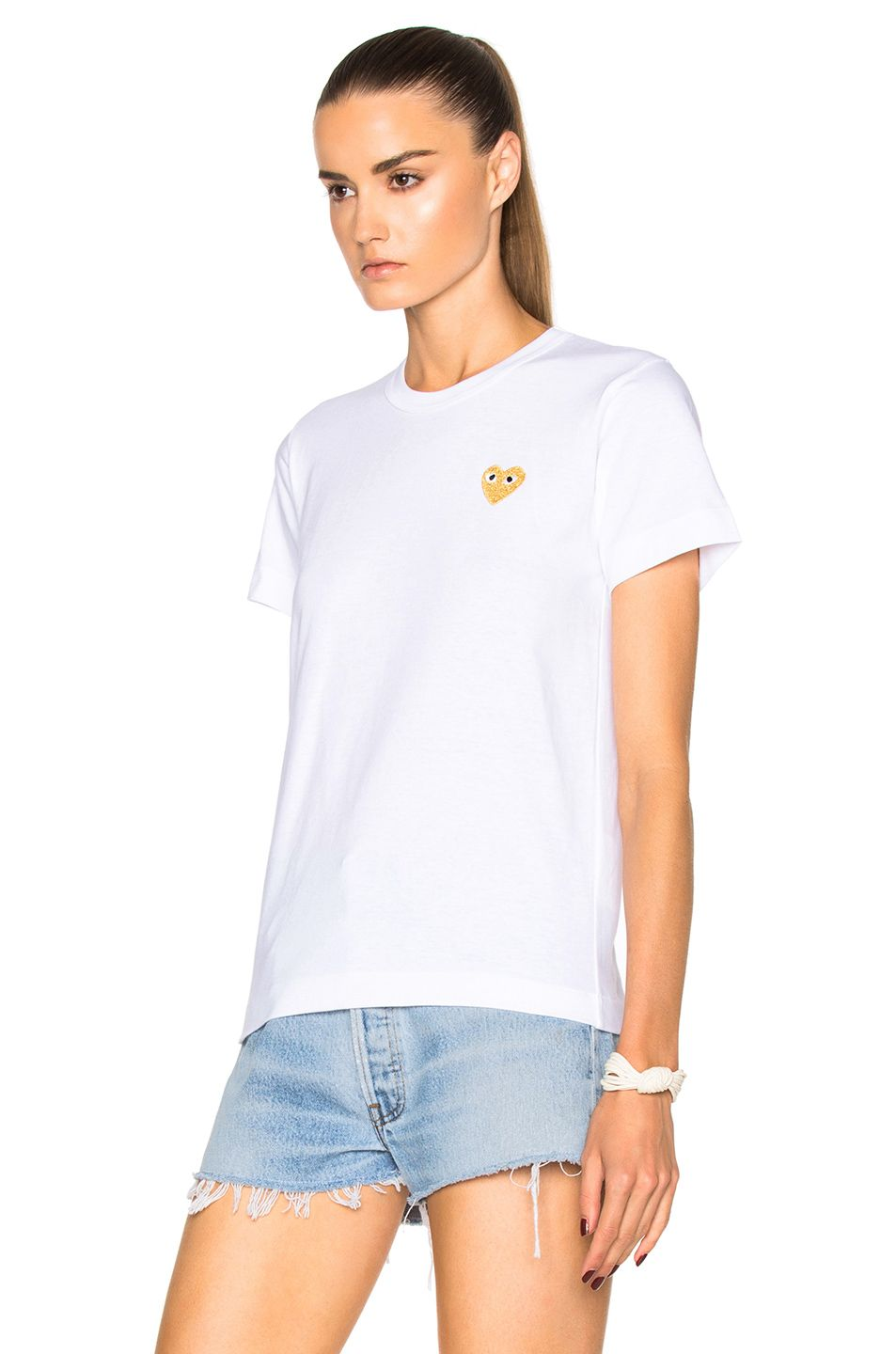 cca2f4550 Image 2 of Comme Des Garcons PLAY Gold Heart Emblem Tee in White ...