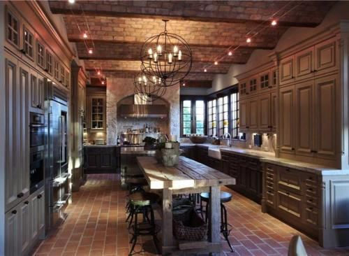 beautiful dark kitchens. Beautiful Dark Kitchen! Love The Industrial Style Chandeliers And Wavy Brick Ceilings. Follow Kitchens