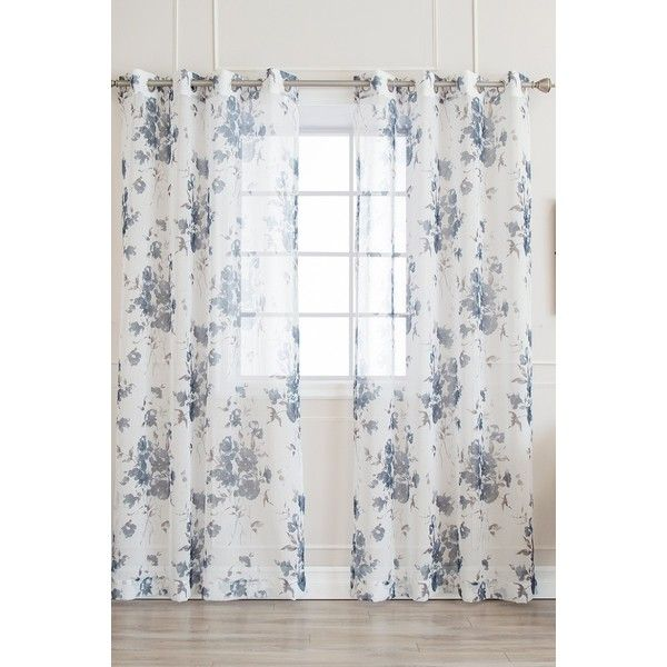 Best Home Fashion Inc Faux Linen Watercolor Rose Print Sheer Curtains 39 Aud Liked On Polyvore Featuring Decor Window Treatments