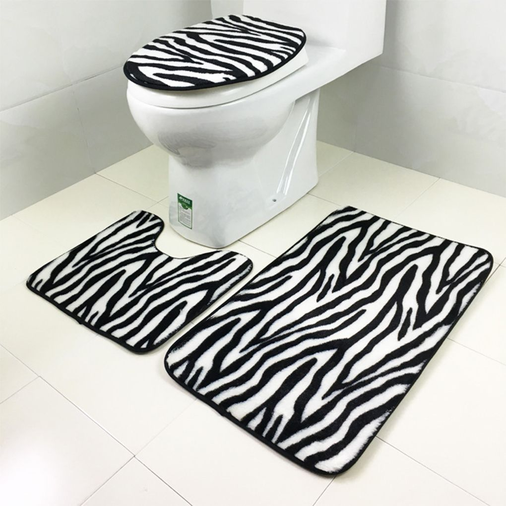 Pcsset Flannel Zebra Pattern Nonslip Bathroom Mat Sets Bath Rug - Toilet bath rug for bathroom decorating ideas