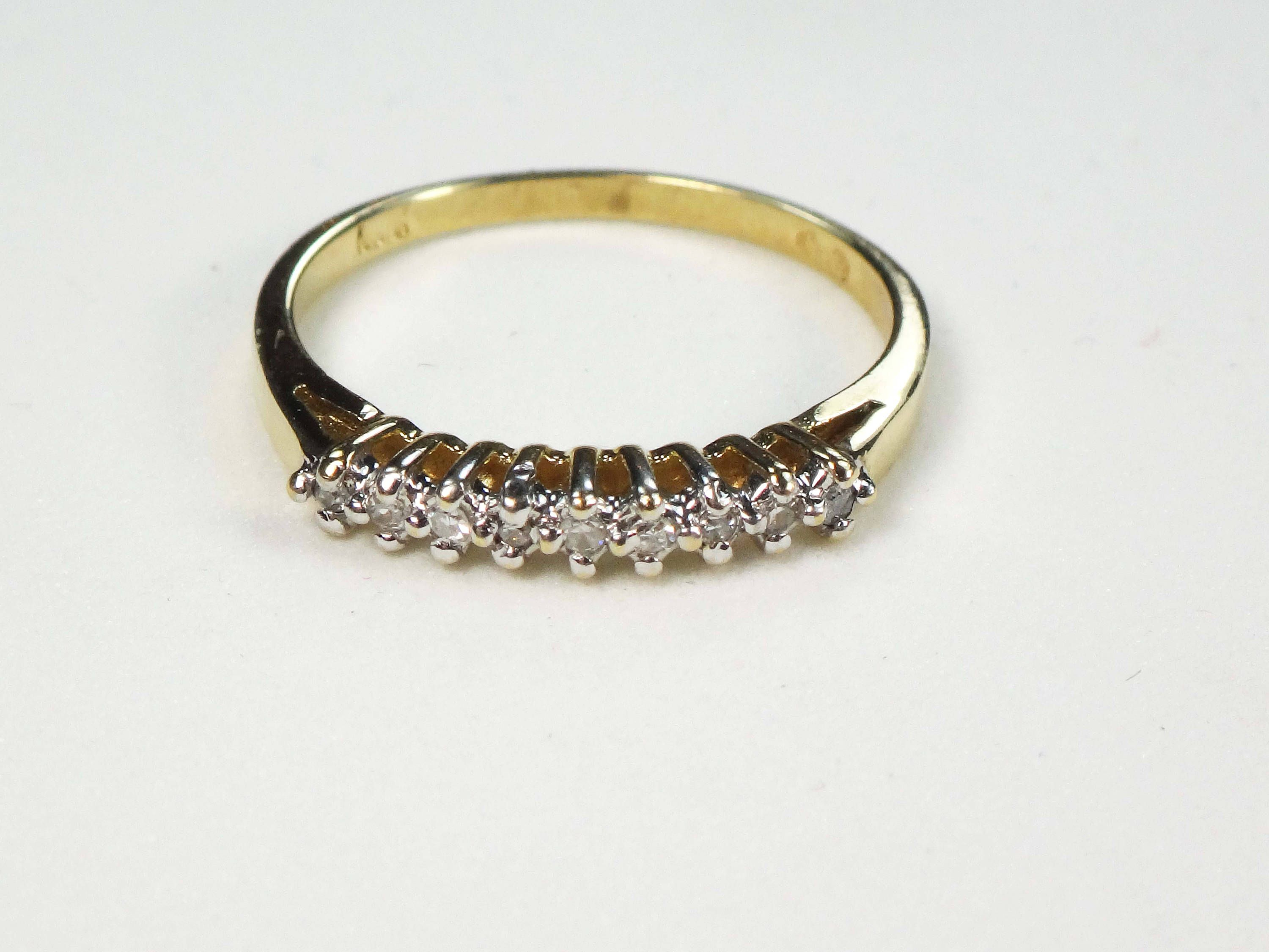 diamond band ring size estate gold in wedding img yellow bands vintage and round