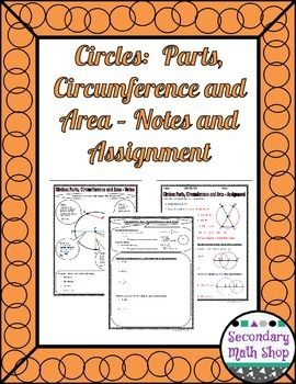 Circles Geometry Circles Parts Circumference Area Notes And