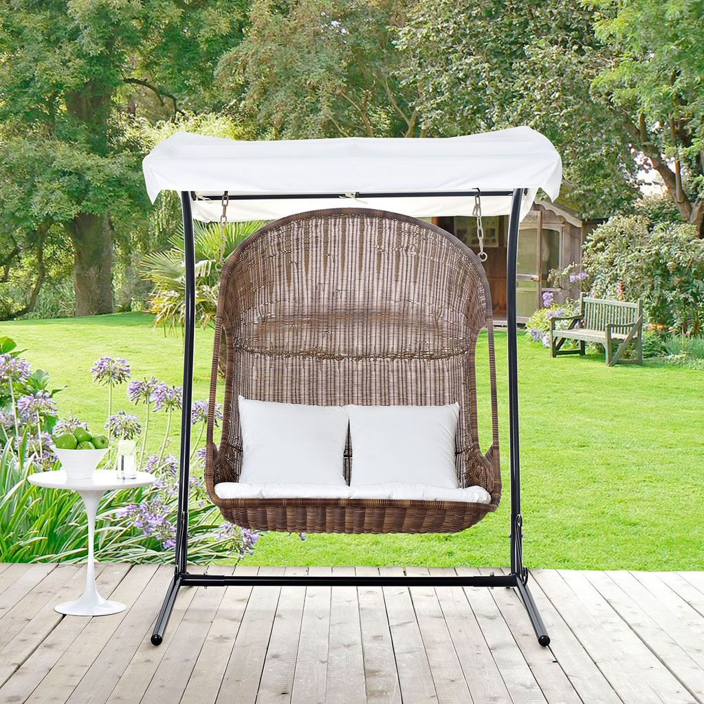 Vantage Outdoor Patio Swing Chair With Stand Brown White Finish With Images Patio Swing Outdoor Patio Swing Patio Swing Chair