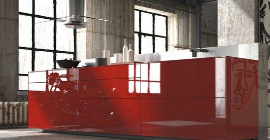Diseño de cocina roja en cristal Cocinas Rojas Pinterest