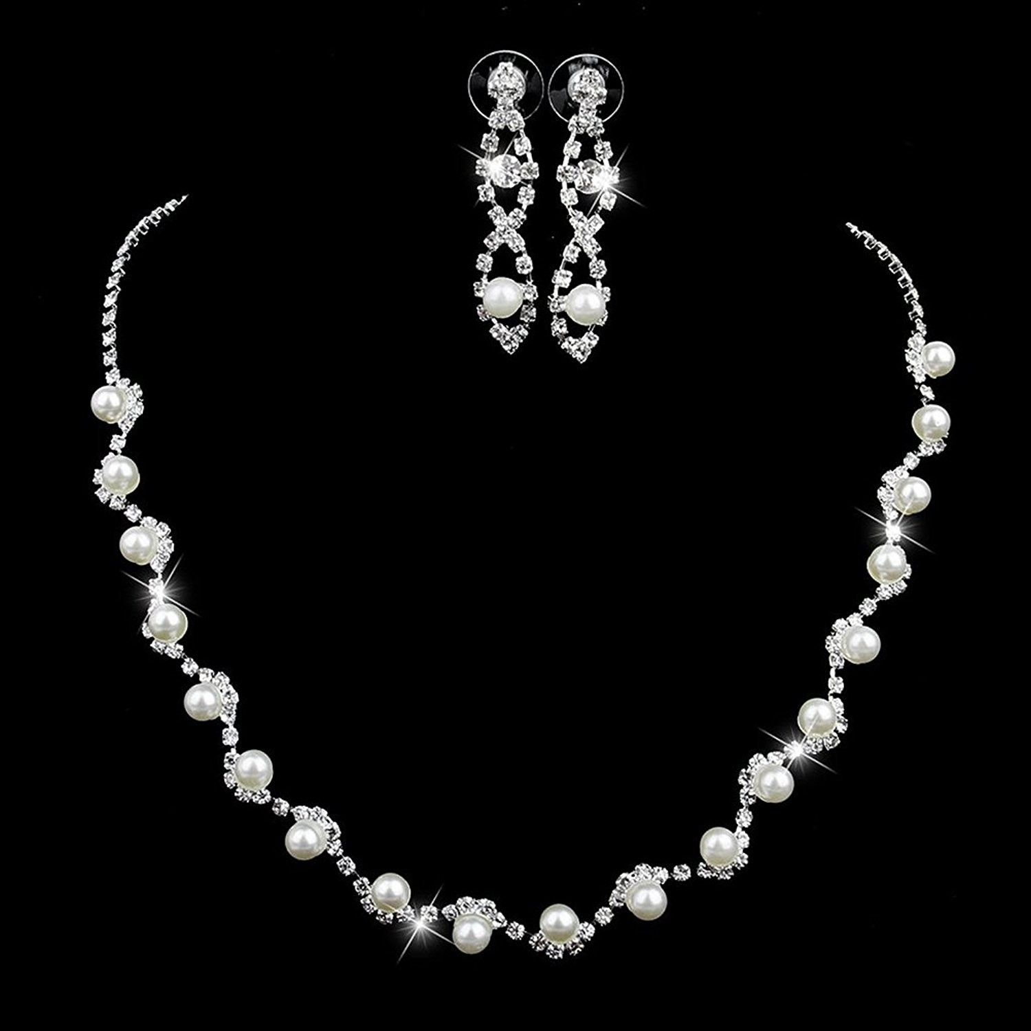 2591425bdd264 Jewelry Sets, Cystal Rhinestone Faux Pearl Necklace Earrings Women ...