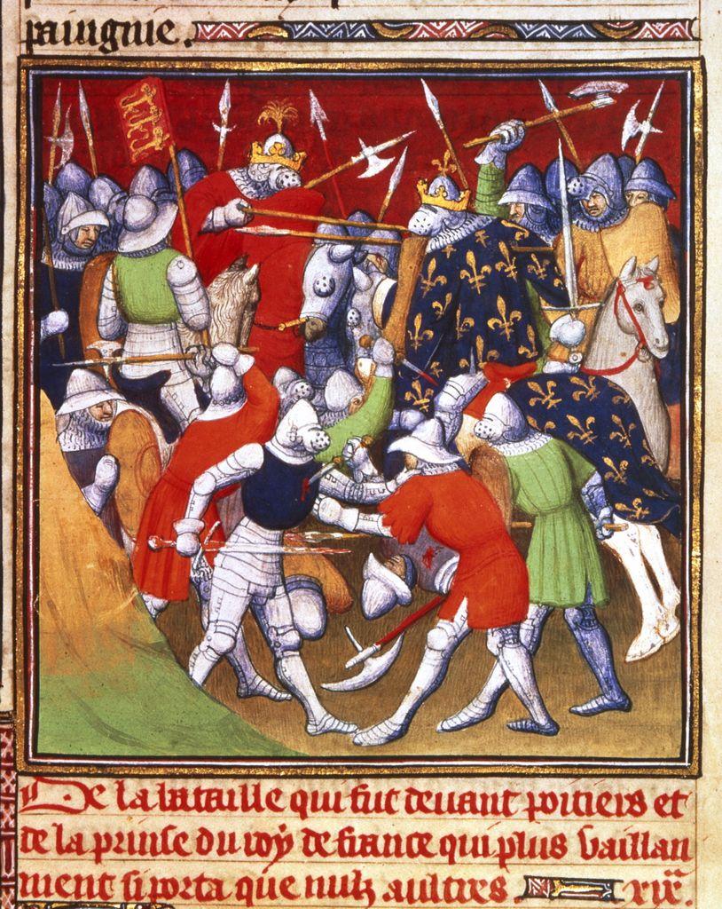 Bataille De Poitiers (1356) : bataille, poitiers, (1356), Bataille, Poitiers, Entre, Anglais, Français, (Grandes, Chroniques, France), Poitiers,, Enluminure,, Illustrations