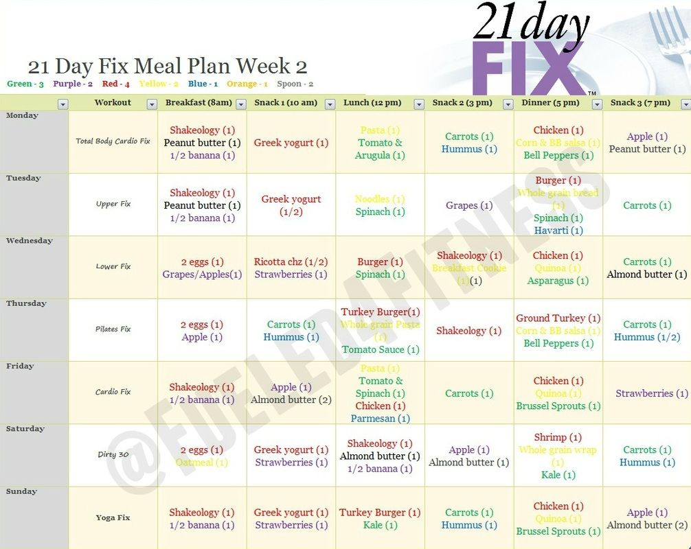 Free  Day Fix Meal Plan For  Calorie Bracket Simple