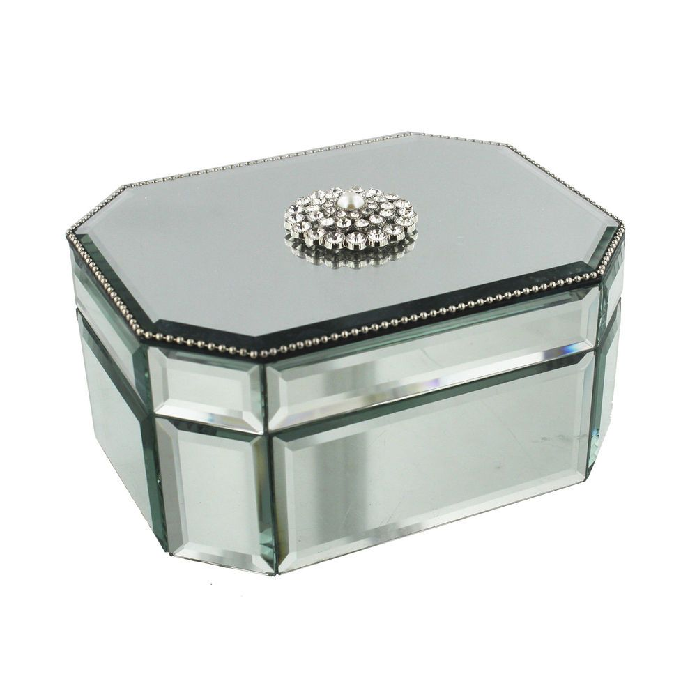 STUNNING SOPHIA OCTAGANOL MIRROR GLASS JEWELLERY BOX WITH CRYSTAL