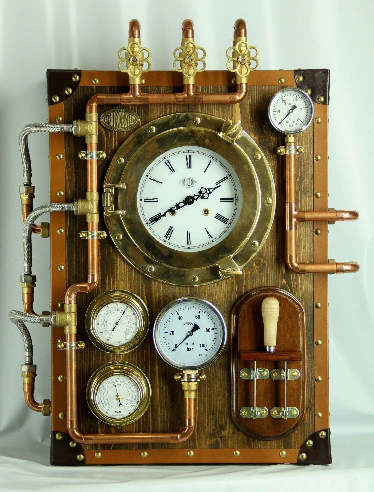 Steampunk wall clock berniscervera industrial furniture for Reloj pared estilo industrial