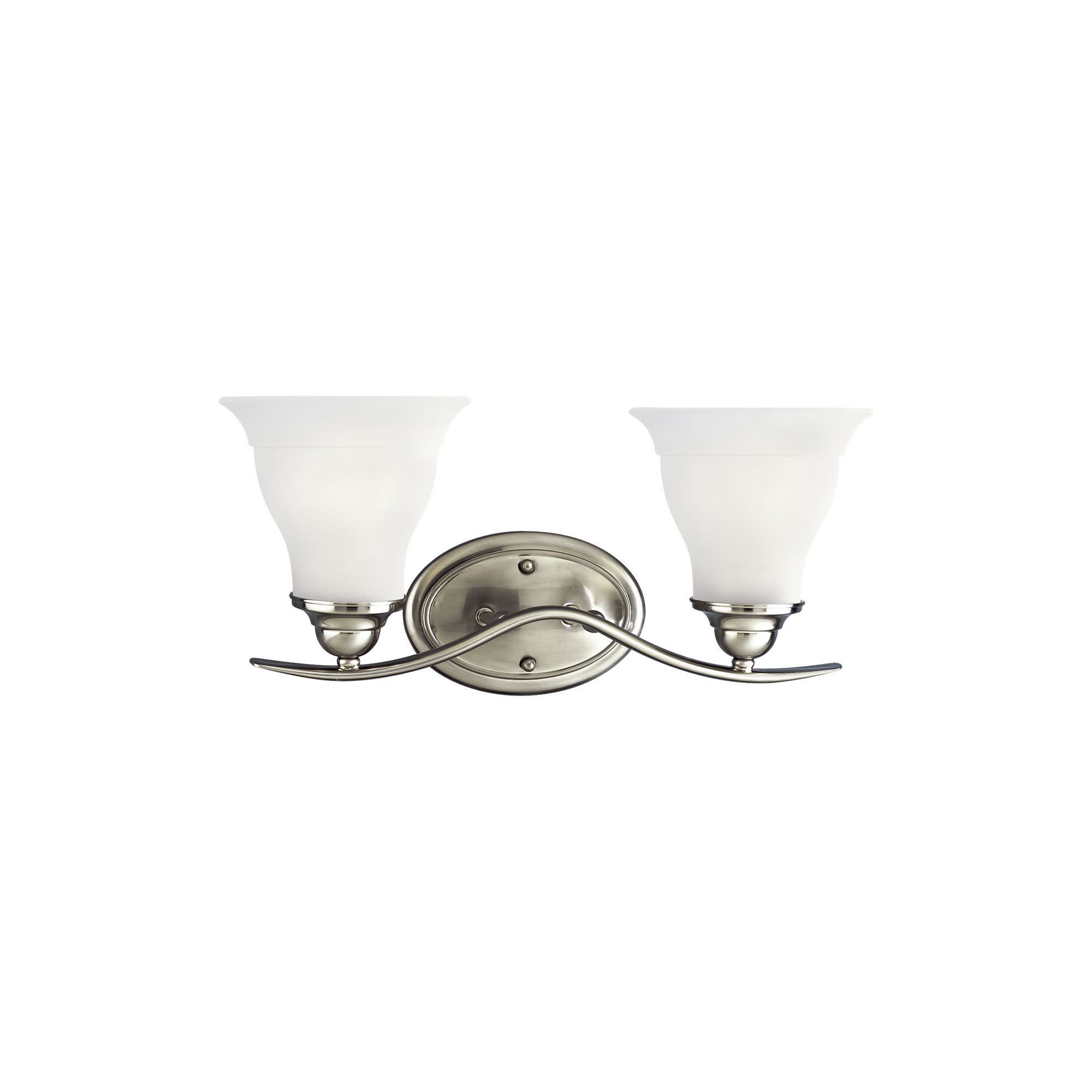 Photo of Progress Lighting P3191 Trinity 2 Light Bathroom Vanity Light with Etched Glass Shades – Brushed Nickel