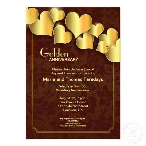Golden Wedding Anniversary Invitation Zazzle Com Anniversary Invitations Golden Wedding Anniversary Invitations Golden Wedding Anniversary