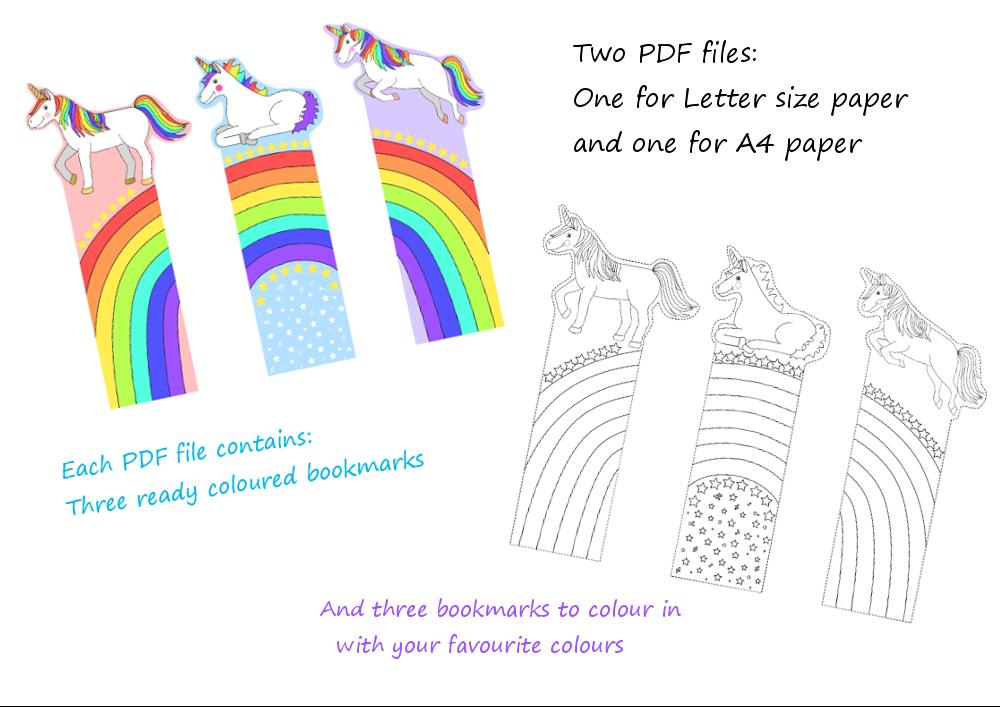 Printable Unicorn Rainbow Bookmarks Cute Printable Bookmarks To
