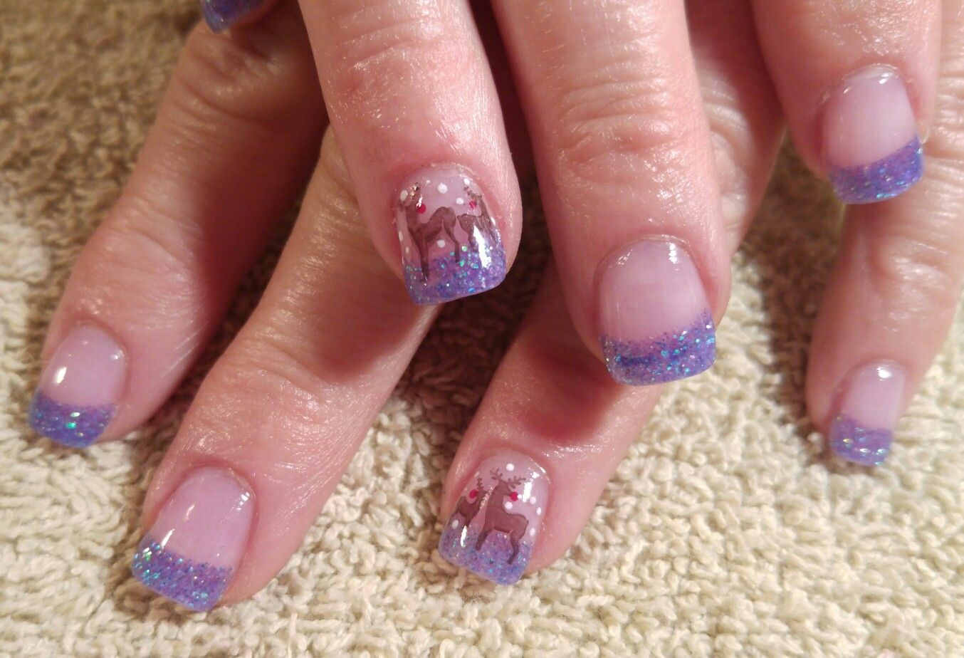 Winter Nail Design Glitter Purple French Tip Nails With Stamped