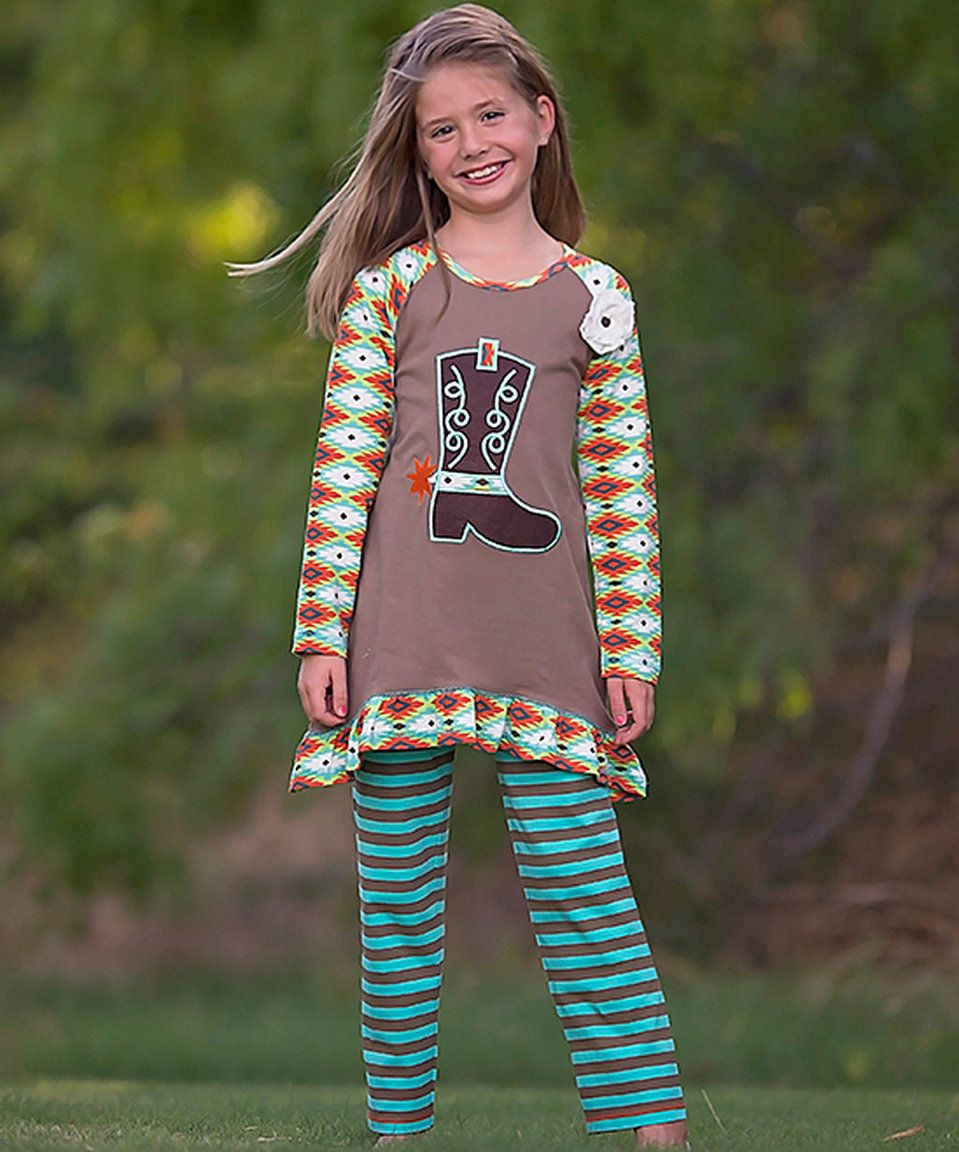 Take a look at this AnnLoren Blue & Brown Cowgirl Tunic & Leggings - Infant, Toddler & Girls today!