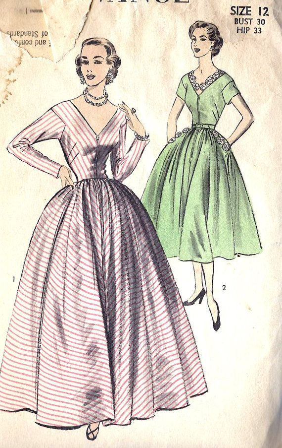 "1950s Evening Gown and Cocktail Dress Vintage Sewing Pattern Advance 6279 bust 30"". $18.00, via Etsy."