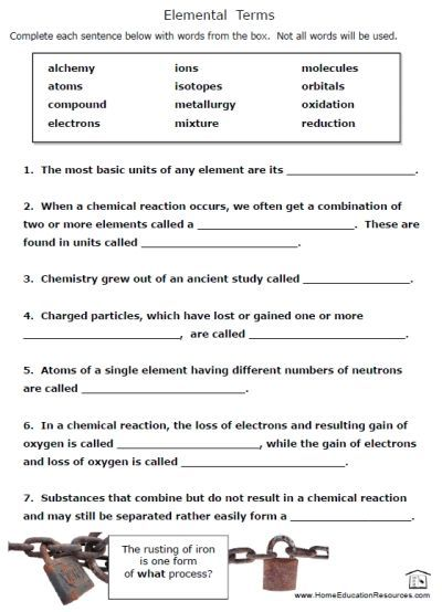 Free Printable Chemistry Worksheets #1 | Free | Pinterest ...