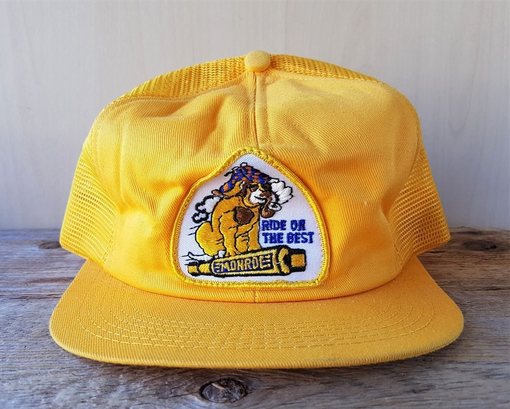 9a7cb5d9a19 Vintage 80s MONROE SHOCKS Yellow Mesh Trucker Hat K-Brand Canada Snapback  Cap  KBrand
