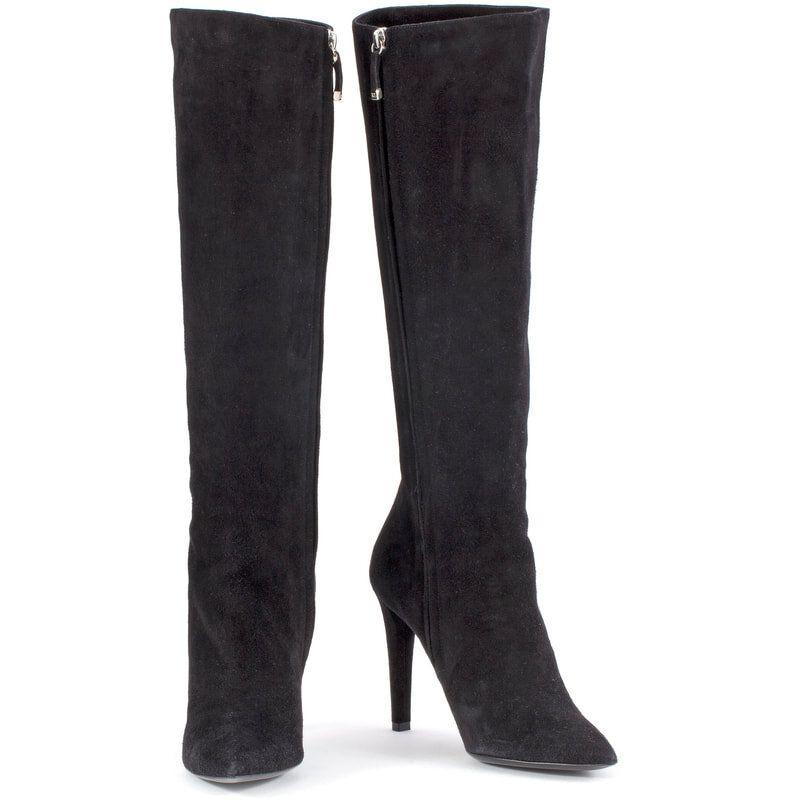 Ralph Lauren Collection Black Suede High Heel Boot Suede High Heel Boots Suede High Heels Kate Middleton Shoes