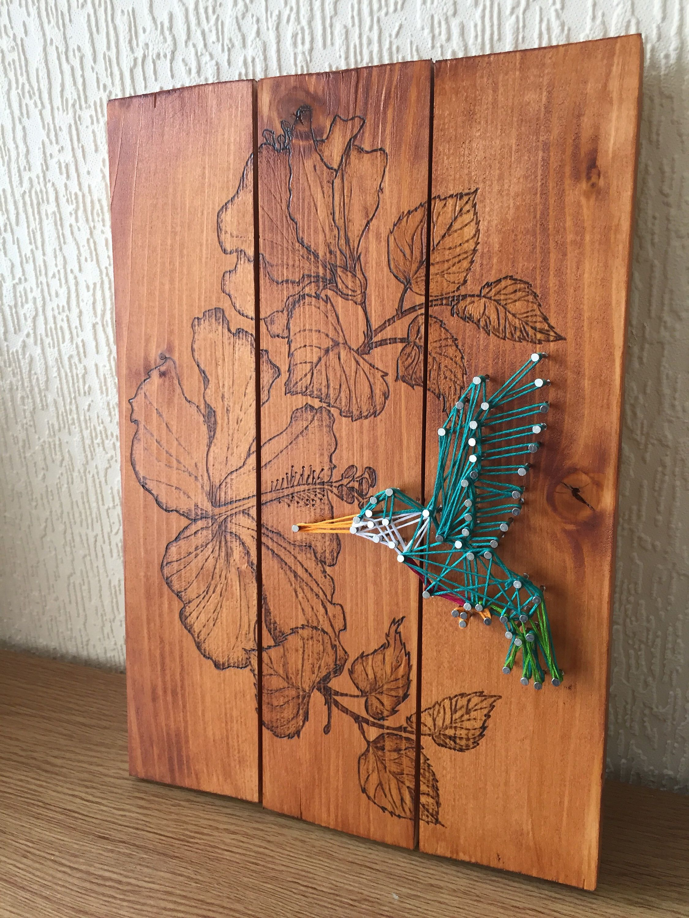 Hummingbird and Hibiscus String Art and Wood Burning #stringart