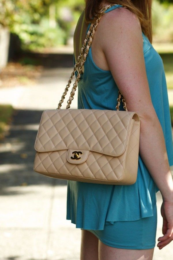c7aae807179bac Chanel Jumbo Flap Bag Light Beige Caviar Leather With Gold Hardware