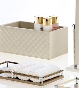 riviere container box quilted leather vanity tray braided - Bathroom Accessories Vanity Tray