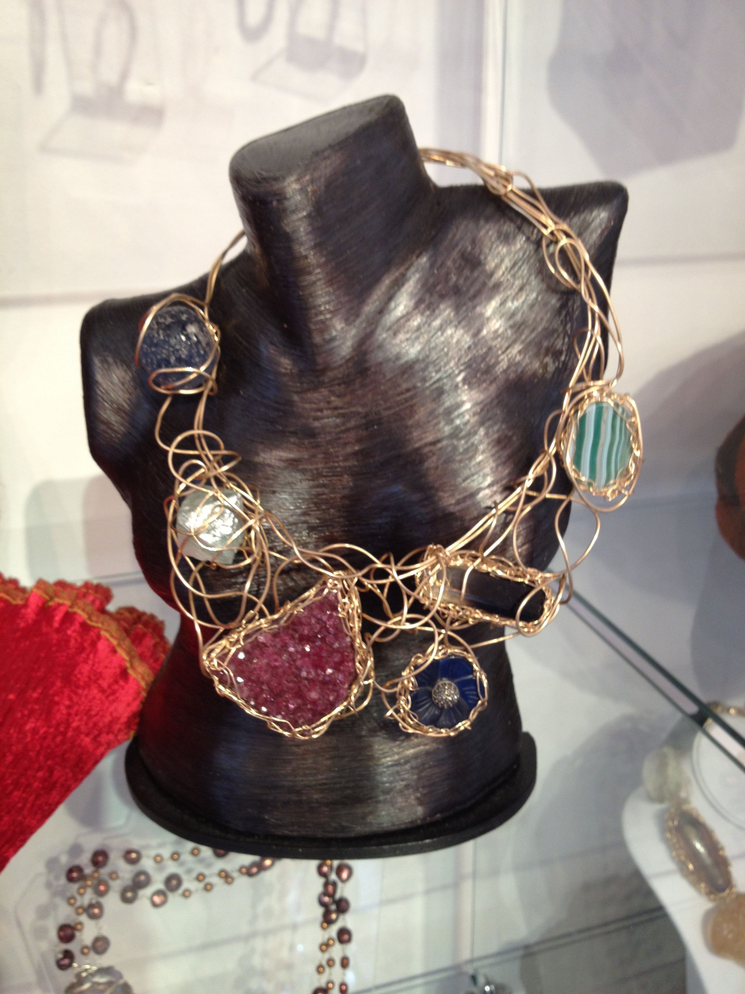 necklace 14K gold filled wire weave with flourite, cambodian blue stone, moss agate cab, bi-color smoky quartz, rough amethyst