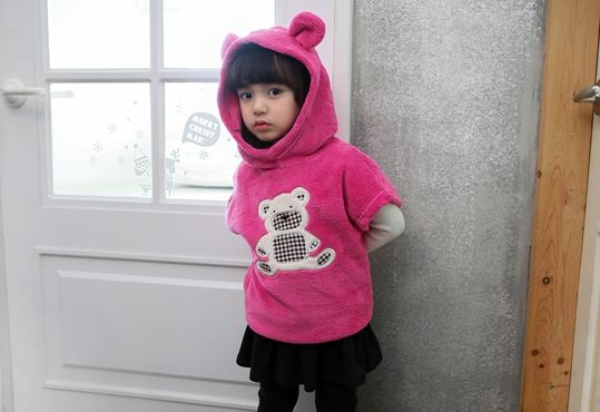 Korea children's No.1 Shopping Mall. EASY & LOVELY STYLE [COOKIE HOUSE] Check Bear Hood Long tee / Size : 7-15 / Price : 17.55 USD #cute #koreakids #kids #kidsfashion #adorable #COOKIEHOUSE #OOTD #top #longT #TEE #hood