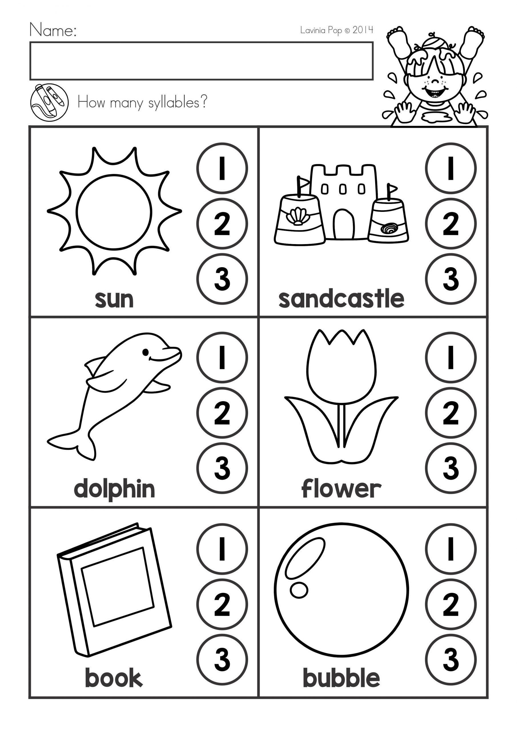 Syllables Worksheet For Kindergarten In