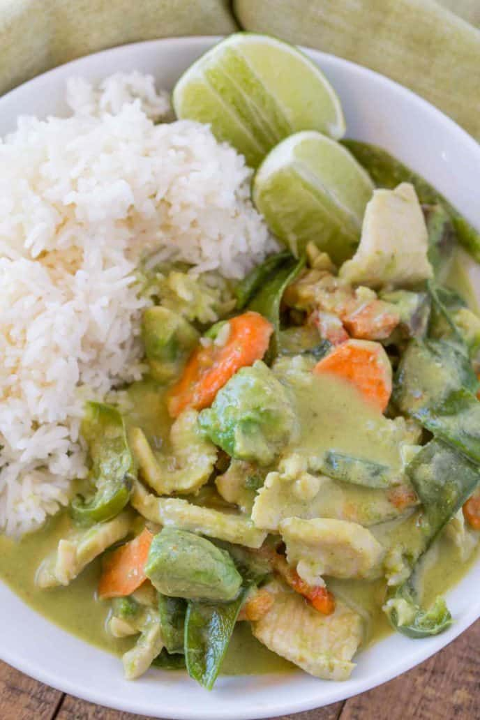Easy Thai Green Curry made in just 30 minutes, full of coconut milk, ginger, garlic, snow peas, avocado chunks and more is the perfect Thai takeout dish! |