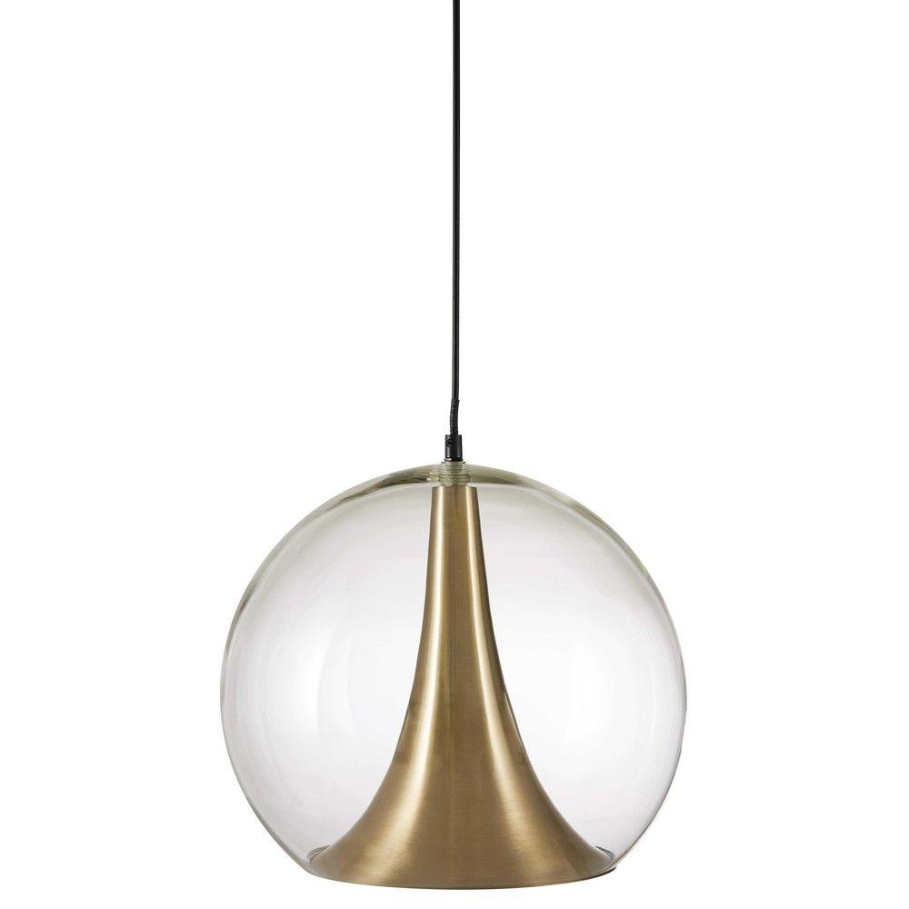 Suspension en métal doré et verre D34 | Glass pendants ...