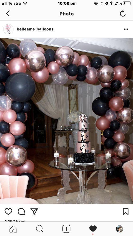 Pink N Silver Balloon Arch 18th Birthday Party 16th Birthday