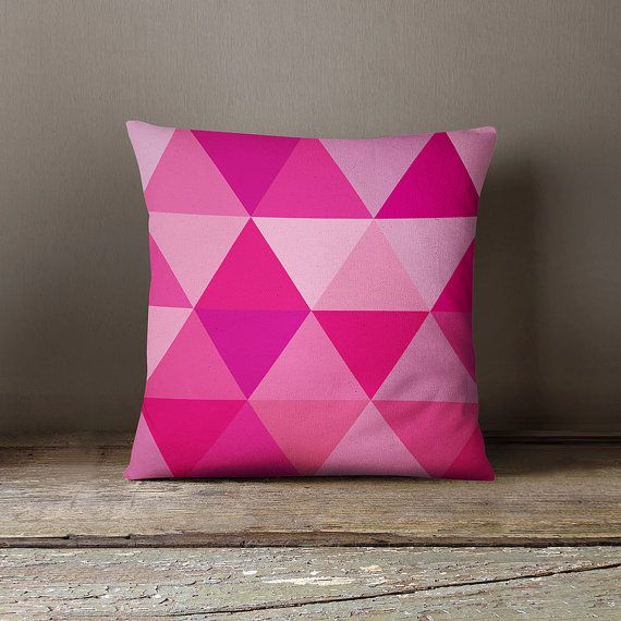 Kids pillow cover with pink triangles, geometric pillow case ...