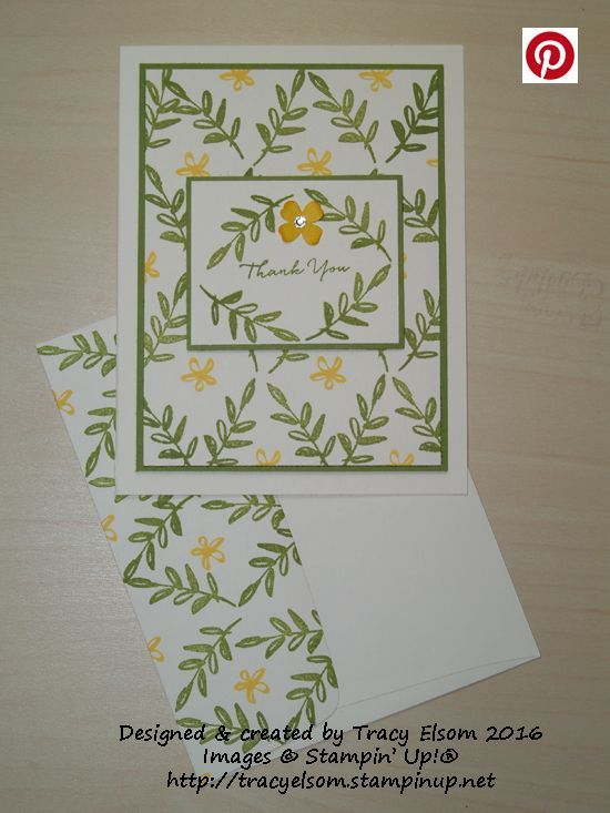 Thank You Card Created Using The FREE What I Love Stamp Set From Stampin Up Sale A Bration Brochure Tracyelsomstampinup