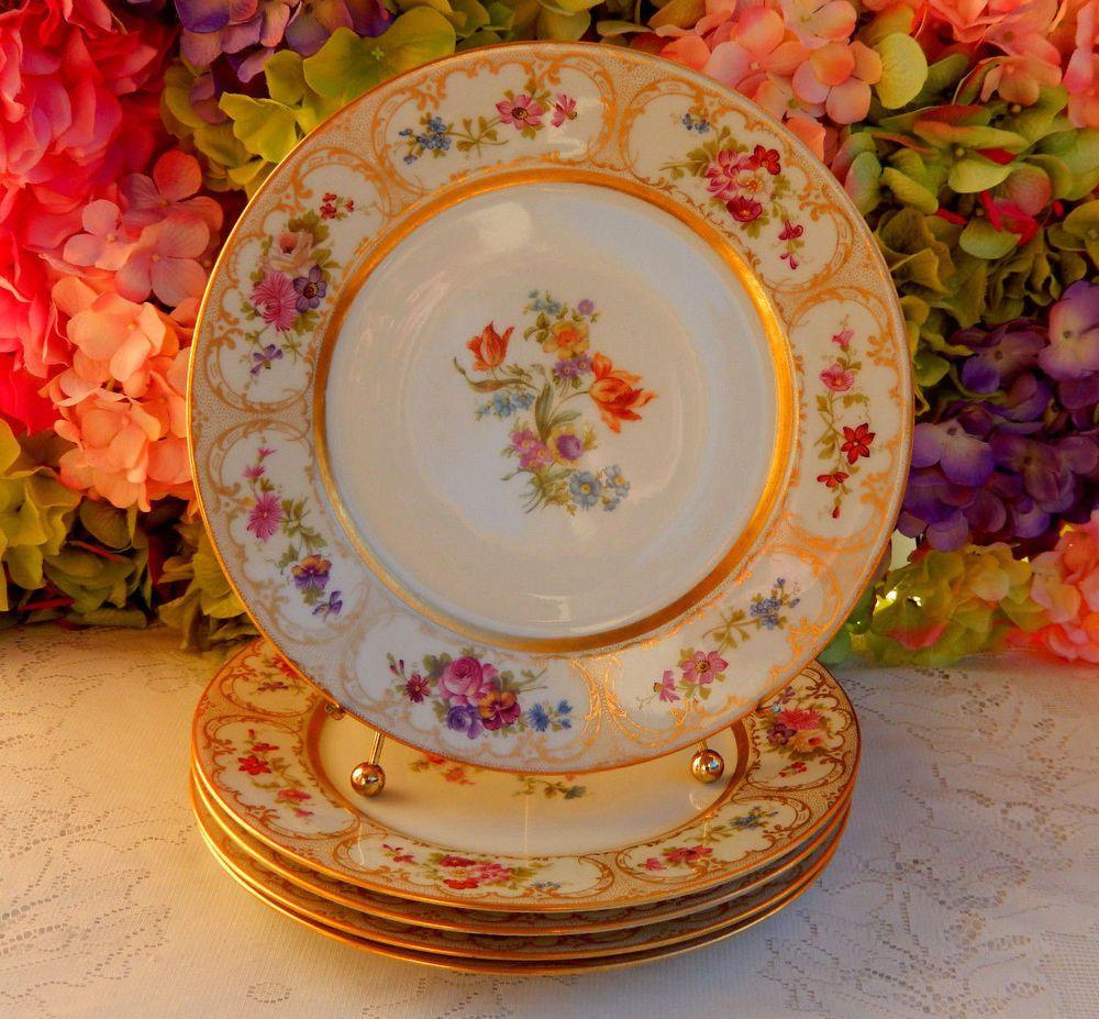 Details about Lot Of 5 Vintage Monogrammed Porcelain Dinner