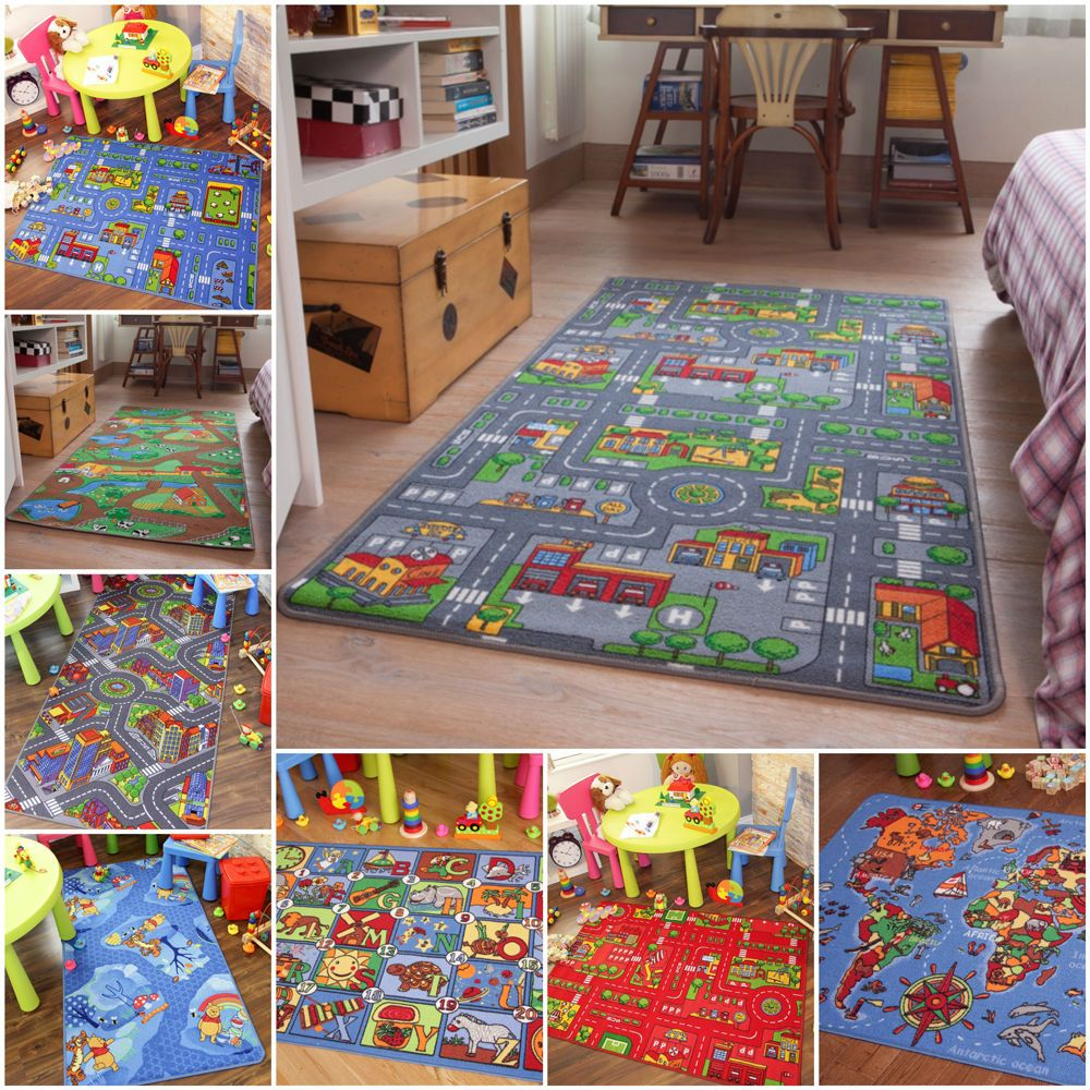 Children S Rugs Boys Play Mat Roads Farm Letters Small Large Kids Carpets
